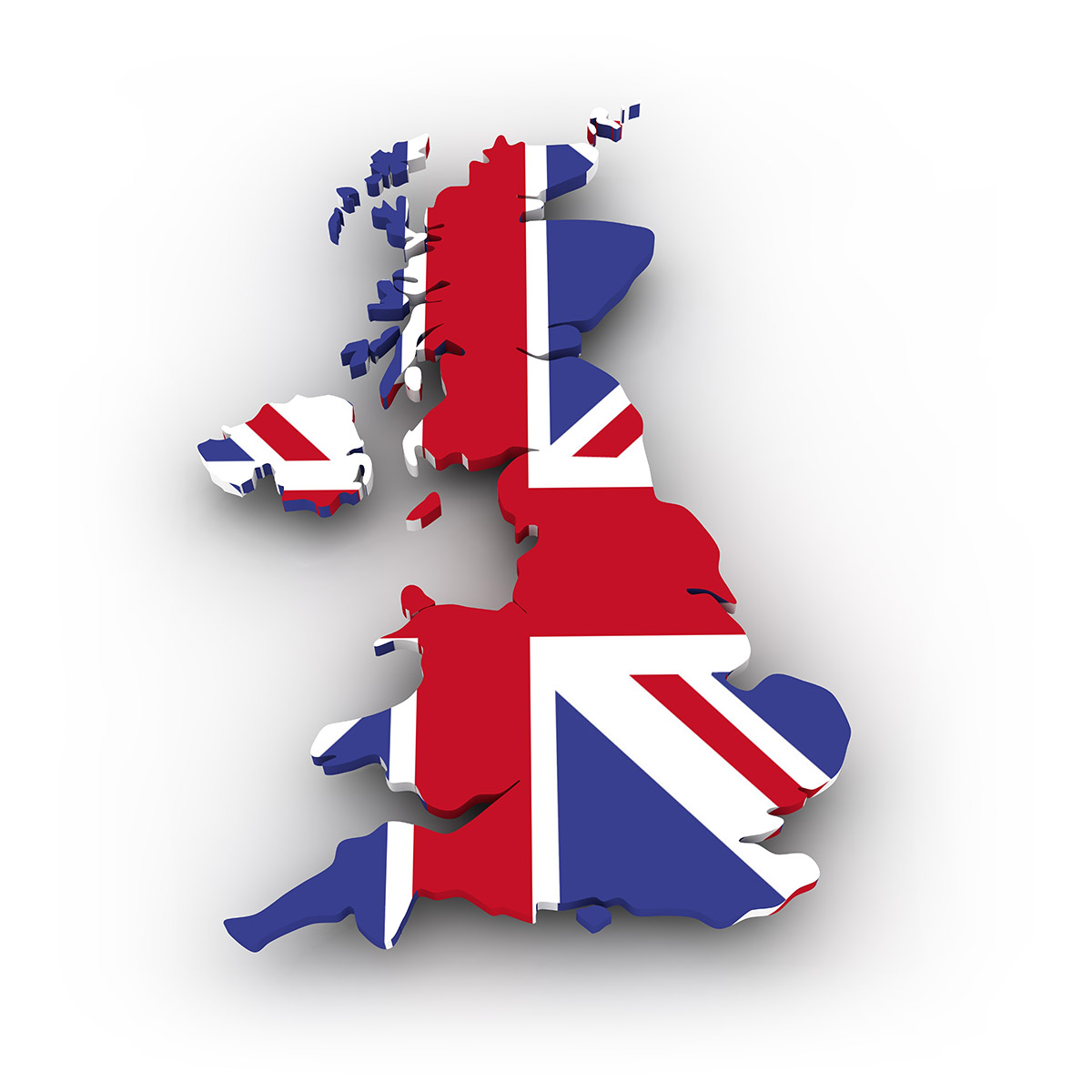 Map of UK wrapped with the Union Jack